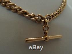 16.5in HEAVY BIRMINGHAM 1925 9ct GOLD DOUBLE ALBERT WATCH CHAIN NECKLACE 58.1g