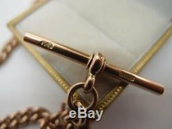 16.75 ANTIQUE 1903 HEAVY 9ct GOLD DOUBLE ALBERT WATCH CHAIN NECKLACE T BAR 52.5g