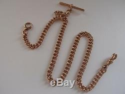 16.75i CHESTER 1903 9ct ROSE GOLD DOUBLE ALBERT WATCH CHAIN T BAR NECKLACE 52.5g