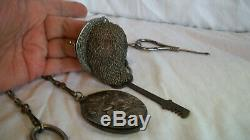 1800's Antique Steel Sewing Chatelaine Key Mirror Purse Sissors Button Hook