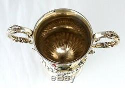 1839 Victorian Sterling Silver Horse Ploughing Trophy with 2 Engraved Horses