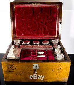 1840s Antique Dressing Traveling Train Case Vanity Box Silver & Secret Drawer