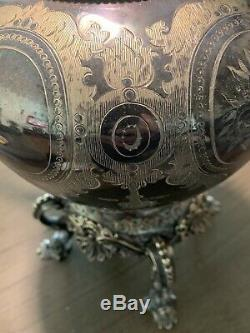 1870 Victorian English Silver Plate Tea Pot with Warmer And Wick. Large