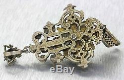 1870s Antique Bohemian Austro-Hungary Solid Silver Mixed Gems Pearl Pendant