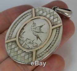 1880 Victorian Aesthetic Large Chester Silver & Rose Gold Locket Pendant