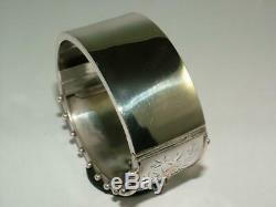 1883 VICTORIAN 9 ct GOLD ON SOLID SILVER HINGED BANGLE BRACELET 41 g EXCELLENT