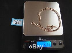 1898 VICTORIAN 9ct ROSE GOLD ALBERT WATCH CHAIN CURB LINK T BAR DOG CLIP 31.3g