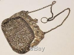 1900 Gorham Sterling Silver Victorian Chain Mesh Purse, Dragon Design