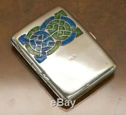 1901 Archibald Knox Cymric Sterling Silver Cigarette Case Liberty's & Co Enamel