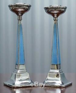1927 Sterling Silver & Guilloche Enamel Candlesticks Pair By Charles Green & Co