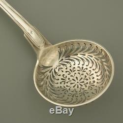 19c Antique French Sterling Silver Sugar Sifter Serving Spoon Tea Strainer Coat