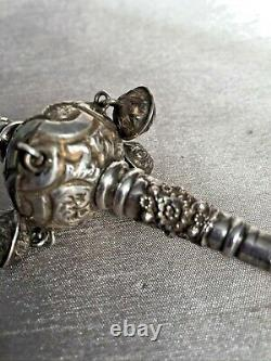 26g Antique Baby Combined Soother, Rattle & Whistle Coral Repousse White Metal