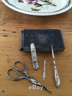 4 Pc Victorian Solid Silver Sewing Kit Etui & Case Needle Scissor Antique Ornate