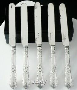 5 Antique Silver Dessert Knives, George Adams 1851 & 1854 Straight Tudor Pattern