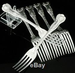 6 Double Struck Heavy Antique Silver Dinner Table Forks, George Adams 1874