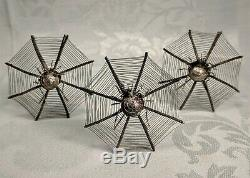 6 Rare Antique Victorian Silver Spider Web Hair Ornaments / Place Card Holders