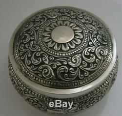 ANGLO INDIAN CEYLON SOLID SILVER TEA CADDY TABLE BOX c1900 ANTIQUE 156g