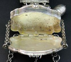 ANTIQUE 19thC FRENCH SOLID SILVER CHATELAINE SEWING TOOLS, PURSE, RATTLE, BOX