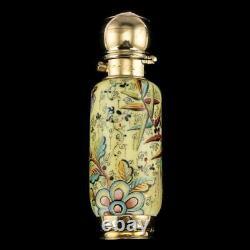 ANTIQUE 19thC VICTORIAN 18k GOLD & ENAMEL SCENT BOTTLE, SAMPSON MORDAN c. 1880