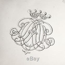 ANTIQUE 19thC VICTORIAN EXCEPTIONAL SOLID SILVER SALVER TRAY, J E TERREY c. 1847