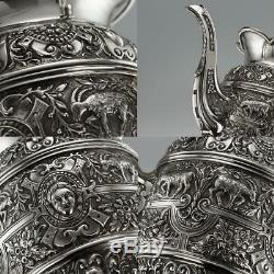 ANTIQUE 19thC VICTORIAN SOLID SILVER CELLINI TEA SERVICE, MAPPIN & WEBB c. 1893