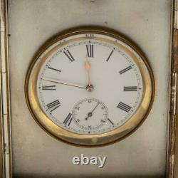 ANTIQUE 19thC VICTORIAN SOLID SILVER CLOCK, CALENDAR & THERMOMETER c. 1895