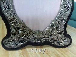 ANTIQUE BLACK STARR & FROST 18 STERLING SILVER PICTURE FRAME With CHERUBS