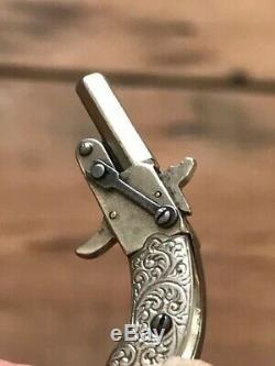 ANTIQUE Rare POCKET WATCH KEY FOB Flintlock Gun Miniature