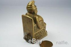 ANTIQUE VICTORIAN BRASS MR PUNCH NOVELTY VESTA CASE / MATCH SAFE c1880