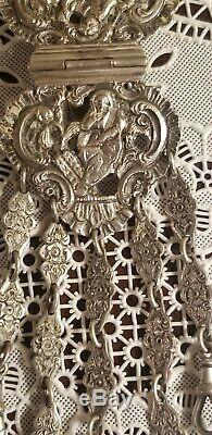 ANTIQUE VICTORIAN GEORGE UNITE STERLING SILVER ORNATE sewing CHATELAINE CLIP