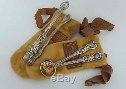 ANTIQUE VICTORIAN TIFFANY & CO STERLING SILVER SUGAR TONG & SERVNG SPOON WithPOUCH