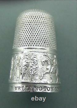 ANTIQUE Victorian SILVER COMMEMORATIVE THIMBLE DEATH OF WELLINGTON C1852