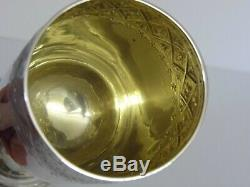 A Fine Tall Antique Victorian Solid Sterling Silver Wine Goblet Cup Beaker 1878