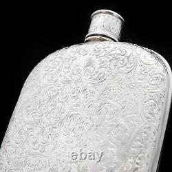 A Spectacular Victorian Solid Silver Hip Flask With Engraved Design 1845