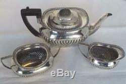A Stunning Antique Solid Silver Three Piece Victorian Tea Set Sheffield 1897