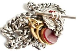 Albert Pocket Watch Chain Spinner And Fob Solid Silver Antique Vintage