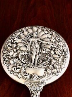 - American Sterling Silver Hand Mirror Woman Holding A Wreath No Monogram