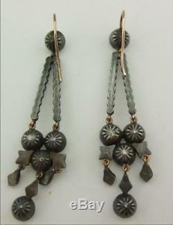 An Excellent Pair Of Victorian Solid Silver And Diamante Paste Earrings