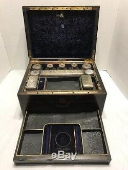 Antique 1800's Dressing Case Vanity Box Calamander HT Sterling Silver Glass Jars