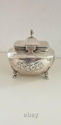 Antique 1845 Solid Silver Tea Caddy Box/cheast Embossed On Cabriole Legs