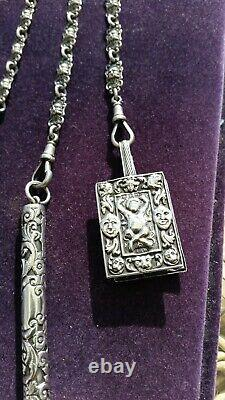 Antique 1899 / 1900 Silver Chatelaine With Accessories