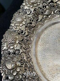 Antique 800 Solid Silver Repousse Pierce Bowl Dish