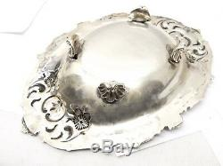Antique 900 Coin Silver Ornate Candy Bowl Basket Dish Floral Victorian Flower