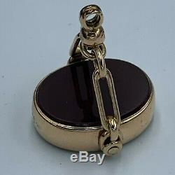 Antique 9ct Yellow Gold Double Sided Fob Pendant L65