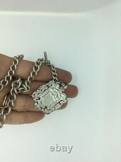 Antique Albertina Fob Chain Solid Silver 925 Fully Hallmarked Heavy Shield C1900
