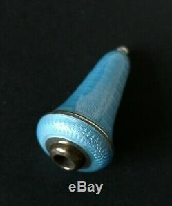 Antique C19th German 835 Silver & Blue Guilloche Enamel Servants Bell Push