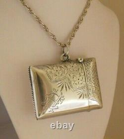 Antique C 1900 Victorian Solid Silver Vesta Case Pendant & Chain Signed Vintage