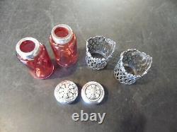 Antique Cranberry & Sterling Salt & Pepper Shakers