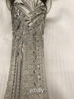 Antique Crystal Sterling Silver Vase