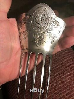 Antique Dominick Haff Sterling Silver Hair Comb Victorian Art Nouveau 1878